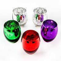 Set of 5 Assorted Colour Speckle Glass Tea Light Holders - 9x7cm -573582