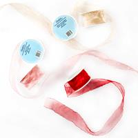 Set of 5 Wrinkled Edge Ribbons - Champagne, Red & Rose - 1.5
