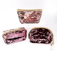 Set of 3 Magic Sequin Storage Pouches In Assorted Styles - Pink C-596553