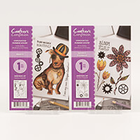 Crafters Companion A6 Rubber Stamp Sets - Percy & Quirky Florals-598059