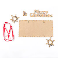 Glitter Magic Santa's Little Helper MDF Set - 5 Pieces & Ribbon-603922