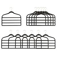 Set of 12 Velour 4 Bar Trouser Hangers In Black - 42.5x45.5cm-605719