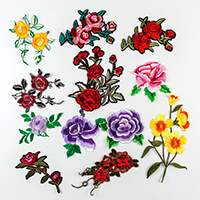 Set of 12 Iron On Flowers - Assorted Sizes & Designs-613639