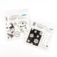 Set of 2 x Stamp Plates - Joy at Christmas & Stylish Christmas - -615973