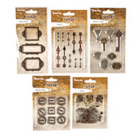 Crafts Too 5 Packs of Assorted  Vintage Embellishments-619497