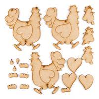 Karacter Krafts 3 x Whimsical Kitchen Chickens-633565