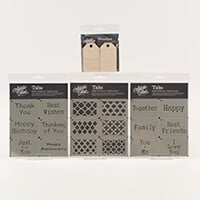 Artistic Flair Sentiment Tab Stencils Set of 3 & 1 x Pack of Tag -634914