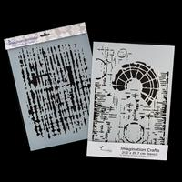 Imagination Crafts 2 x A4 Art Stencils - Weathered and Sunburst T-641226