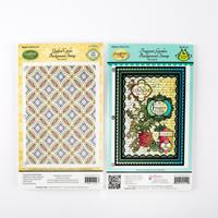 JustRite® 2 x Background Stamps - Fragrant Garden & Quilted Circl-652813