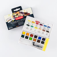 Derwent Inktense Paint Pan Set - 12 x Colours, Mini Waterbrush & -658469