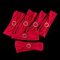Set of 6 Red Chair Covers with Diamante Buckle-660411