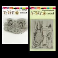 Stampendous 2 x Cling Stamps - House Mouse Curtain Cats and Postc-662204