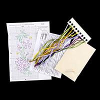 Gamma Purple Woodland Flower Ribbon Embroidery Kit - 8 x 15.5cm-680654