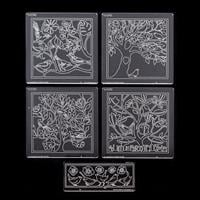 Groovi Plate Set of 4 A5 Squares - A Little Bird Quartet with Bir-699565