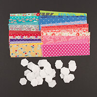 Daisy & Grace 100 Paper Piece Hexagon Pack with Fabric - 1/2