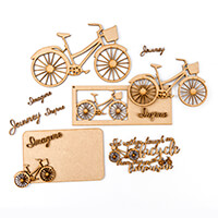 Samantha K Bicycle MDF Set - 1 Quote, 1 Plaque, 3 Bicycles, 6 Ass-710404