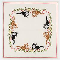 Permin Kittens Linen Tablecloth Cross Stitch Kit - 57 x 57cm-711371