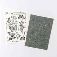 Chocolate Baroque Honeysuckle Butterfly A5 Rubber Stamp Sheet - 8-718781