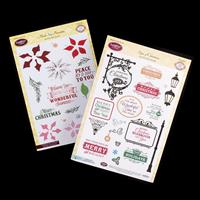 JustRite 2 x Clear Stamp Sets - Multi-Step Poinsettia & Signs of -721579