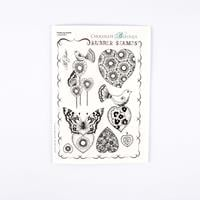 Chocolate Baroque Fluttering Hearts A5 Stamp Sheet - 8 Images-723020