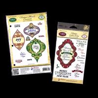 JustRite® 2 x Stamp Sets - Christmas Ornaments & Christmas Labels-724480