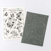 Chocolate Baroque Briar Rose Butterfly A5 Rubber Stamp Sheet - 10-730621