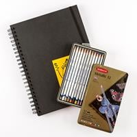 Derwent 12 x Metallic Pencil Tin & A4 Blackbook-734340