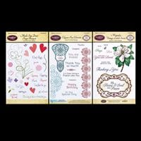 JustRite 3 x Clear Stamp Sets- Don't Forget, Elegant Fan & Magnol-736156