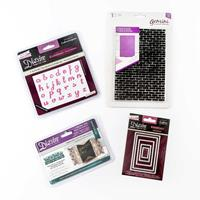 3 x Die Sets & 1 x Embossing Folder - Rectangles, Butterflies, Al-736576