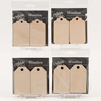 Artistic Flair Pack of 24 Woodies - 12 x Simple Tags & 12 x Elega-736913