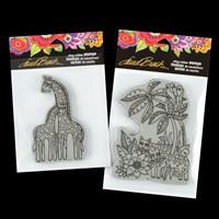 Stampendous Set of 2 Cling Stamps - Giraffes and Jungle Cats-749311