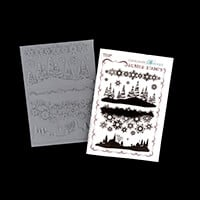Chocolate Baroque Winter Edges A5 Stamp Sheet  - 4 Scenes-749551