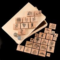 Wooden Stamp Set in Storage Box with 1 x Silver & Gold Metal Magi-764659