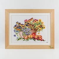 Thea Gouverneur Pots of Pansies Cross Stitch Kit on Aida-766089