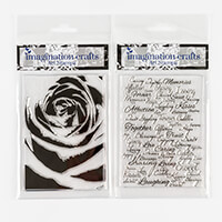 Imagination Crafts 9x9cm Art Stamps - Shadow Rose and Script Fami-767643