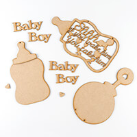 Daisy's MDF Set of 4 - Baby Girl, Rattle, Bottle and Shh If You W-791771