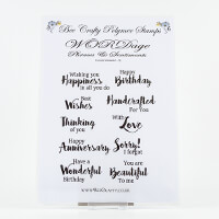 Bee Crafty Everyday Sentiments 2 XL Stamp Sheet - 10 Sentiments-792877