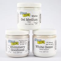 Colouricious Mixed Media Set x3 - White Gesso, Gel Medium & Shimm-801717
