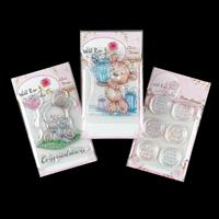 Wild Rose Studio A7 Stamp Set - Baby Bunny, Bear with Gift and Ca-807113