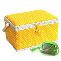 Sewing Online Yellow Polka Dot Sewing Basket - Medium with Sewing-810680
