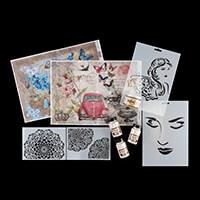 Imagination Crafts Mixed Media Set One - inc Stencils, Rice Paper-811088