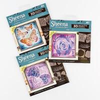 Sheena 3D Stencils x 9 - Butterflies, Hydrangea & Rose-813080