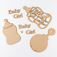Daisy's MDF Set of 4 - Baby Boy, Rattle, Bottle and Shh If You Wa-822937