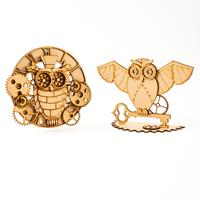 Madhatters Laser Cut MDF 3D Steampunk Owl Dreamcatcher and Owl Ki-823528