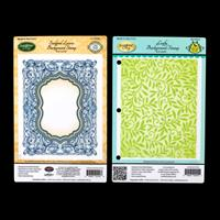 Justrite 2 x Cling Background Stamps - Leafy & Sculpted Leaves-837199