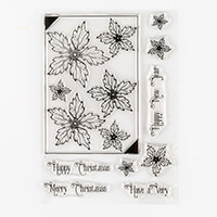 John Next Door Elegant Poinsettia A5 Clear Stamp Set - 9 Stamps-839889