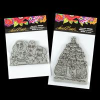 Stampendous Set of 2 Cling Stamps - Playful Pups and Festive Feli-845065