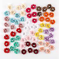 Craft Buddy 70 Diamante Satin Flowers - Mixed Colours-852038
