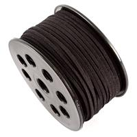 Real Leather Suede Cord - Black - 3mm - 50 Metres Total-853247