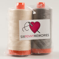 Six Penny Memories Aurifil Thread Pack of 2 x 1300m-857166